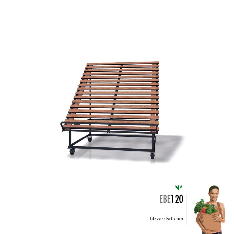 Espositore con doghe in legno ebe 120 espositore ortofrutta for Arredamento ortofrutta in legno