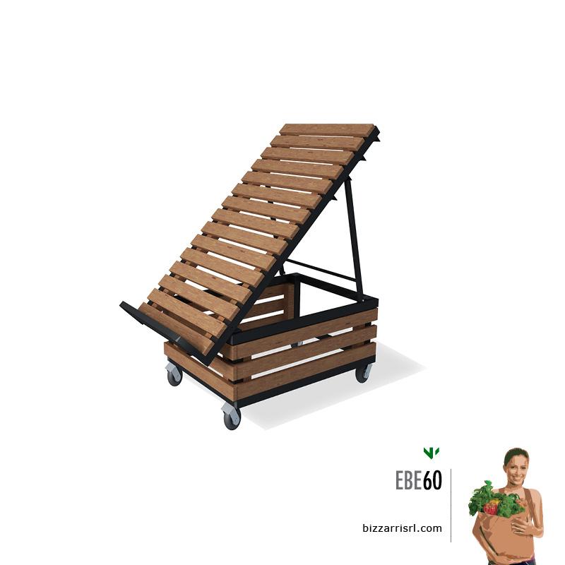 Espositore ortofrutta con doghe in legno ebe 60 for Arredamento ortofrutta in legno