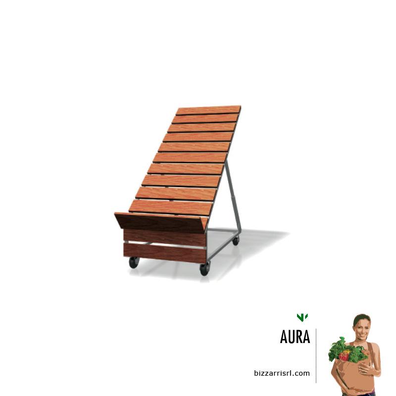 Espositore ortofrutta con doghe in legno aura for Arredamento ortofrutta in legno