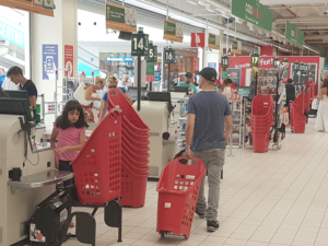 Shopping trolley Lift checkout