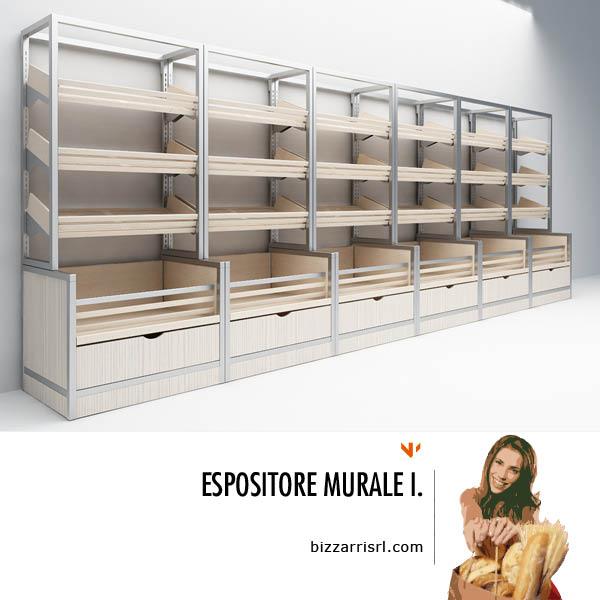 Espositore murale i reparto panetteria bizzarri group for Arredamento ortofrutta in legno